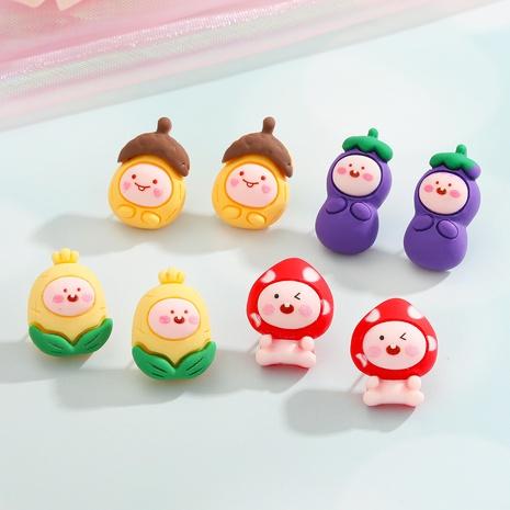 wholesale jewelry cute cartoon fruit vegetable stud earrings nihaojewelry  NHGO404558's discount tags