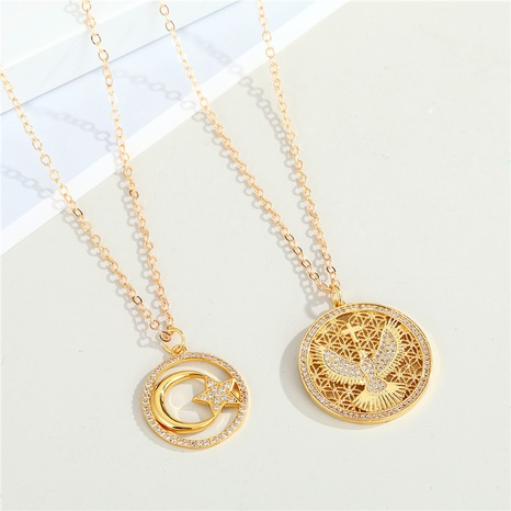 fashion irregular hollow round pendant necklace wholesale Nihaojewelry NHGO404575's discount tags