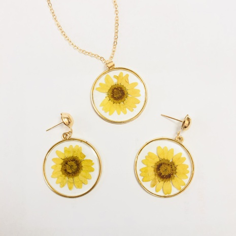 wholesale jewelry small daisy transparent round pendant necklace earrings nihaojewelry  NHGO404579's discount tags