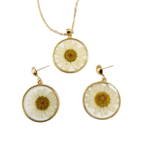 wholesale jewelry white flower transparent round pendant earrings necklace nihaojewelry  NHGO404586's discount tags