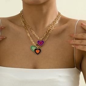 retro heart multi-element necklace wholesale Nihaojewelry NHXR404596