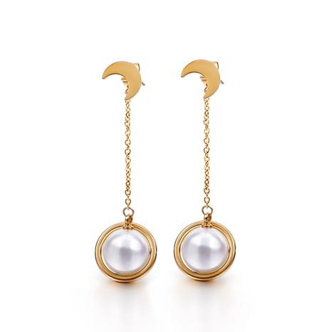 Fashion Pearl Tassel Moon Titanium Steel Earrings Wholesale Nihaojewelry  NHKAL404742's discount tags