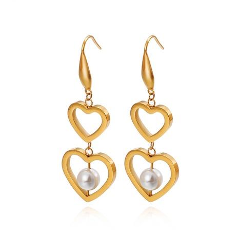 new style titanium steel double heart-shaped pearl earrings wholesale Nihaojewelry  NHKAL404771's discount tags