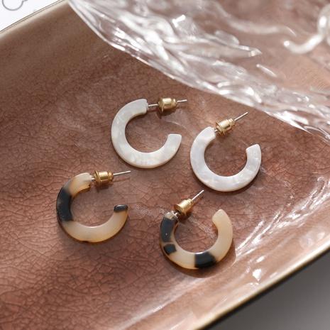 Fashion C-shaped Leopard Print Resin Earrings Wholesale Nihaojewelry  NHYI405116's discount tags
