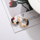 Fashion Cshaped Leopard Print Resin Earrings Wholesale Nihaojewelry  NHYI405116
