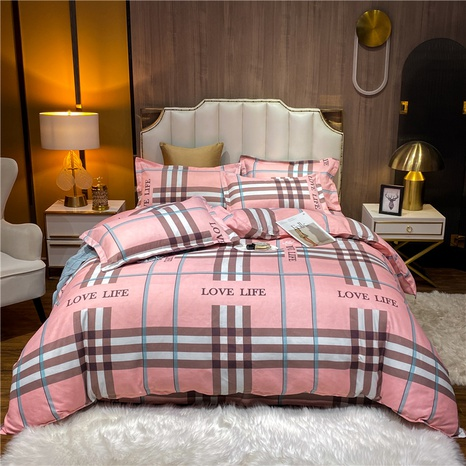 wholesale strip plaid printed brushed pink bedclothes set nihaojewelry  NHDYJ405238's discount tags