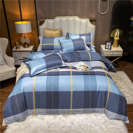 wholesale hit color plaid printed brushed bedclothes set nihaojewelry  NHDYJ405237's discount tags