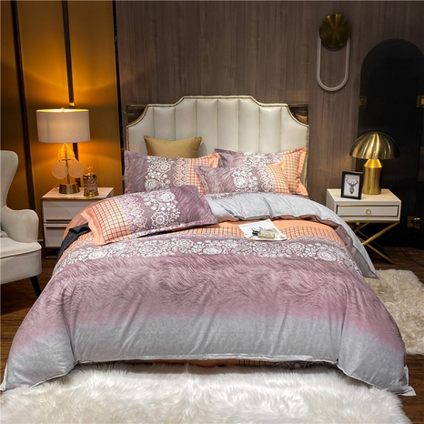 wholesale gradient color lace flower printed brushed bedclothes set nihaojewelry  NHDYJ405236's discount tags