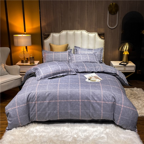 wholesale plaid printed brushed purplish blue bedclothes set nihaojewelry  NHDYJ405235's discount tags