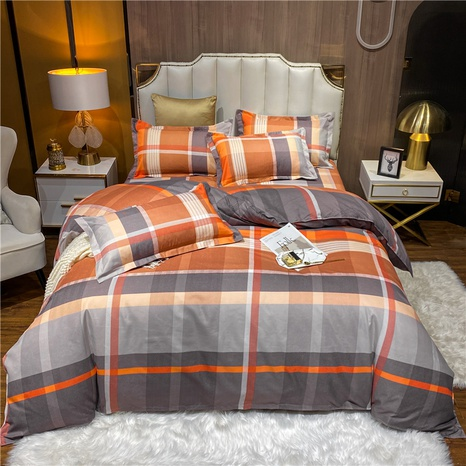 wholesale hit color stripe plaid printed brushed bedclothes set nihaojewelry  NHDYJ405234's discount tags
