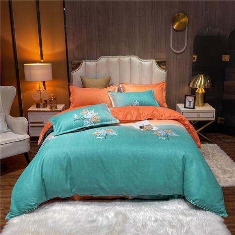 wholesale gradient color flower printed brushed green bedding set nihaojewelry  NHDYJ405233's discount tags