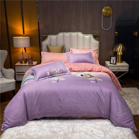 wholesale gradient color flower printed brushed purple bedding set nihaojewelry  NHDYJ405232's discount tags