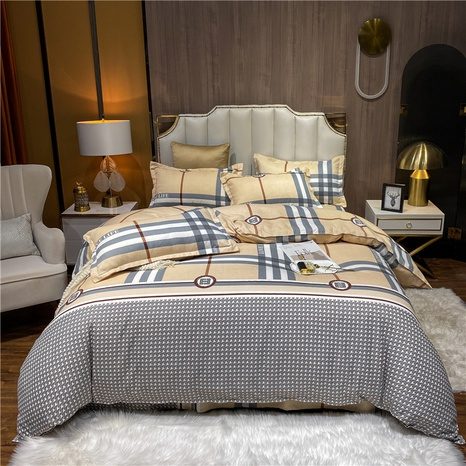 wholesale houndstooth stripe plaid printed brushed bedding set nihaojewelry  NHDYJ405231's discount tags