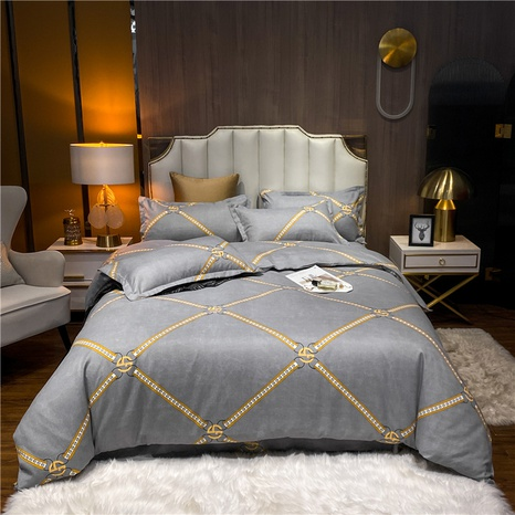 wholesale golden chain plaid printed brushed gray bedclothes set nihaojewelry  NHDYJ405230's discount tags