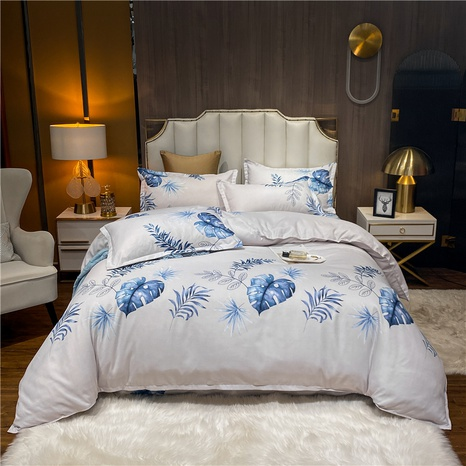 wholesale blue leaves plaid printed brushed bedclothes set nihaojewelry  NHDYJ405229's discount tags