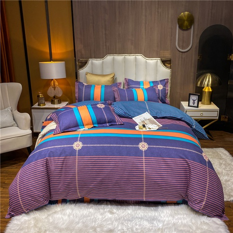 wholesale contrast color stripe flower printed brushed bedding set nihaojewelry  NHDYJ405228's discount tags