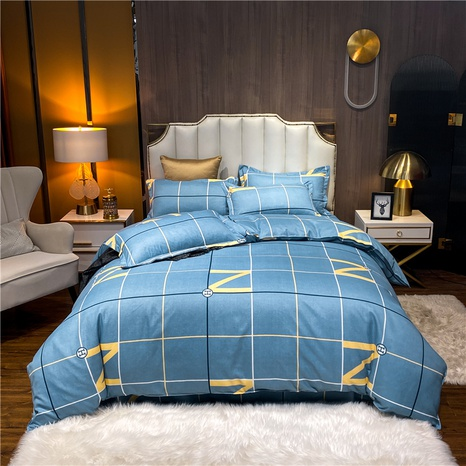 wholesale plaid letter printed brushed blue bedding set nihaojewelry  NHDYJ405226's discount tags