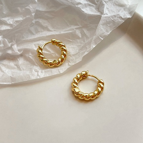 Wholesale Circle twist hoop earrings women's golden earrings NHQC405260's discount tags