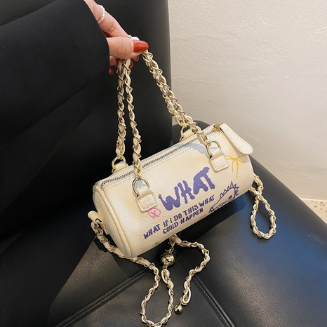 fashion graffiti chain shoulder cylinder bag wholesale Nihaojewelry  NHGN405951's discount tags