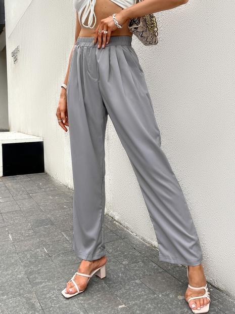 wholesale gray loose high waist long pants nihaojewelry  NHDE406058's discount tags