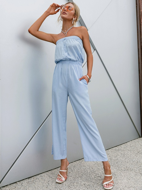 wholesale blue high-waist single-breasted off-shoulder top pants suit nihaojewelry  NHDE406059's discount tags