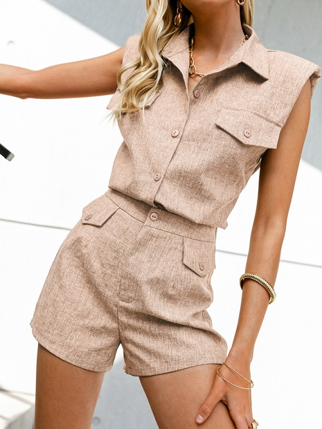 wholesale apricot single-breasted short-sleeved top shorts suit nihaojewelry  NHDE406060's discount tags