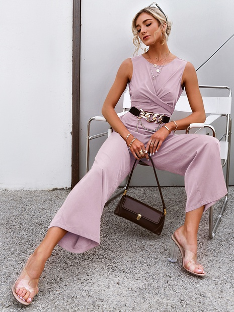 wholesale round neck light pink sleeveless top wide legs pants suit nihaojewelry  NHDE406062's discount tags