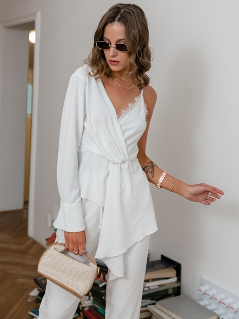 simple solid color white half long-sleeve half sling top long pant set wholesale nihaojewelry NHDE406068's discount tags