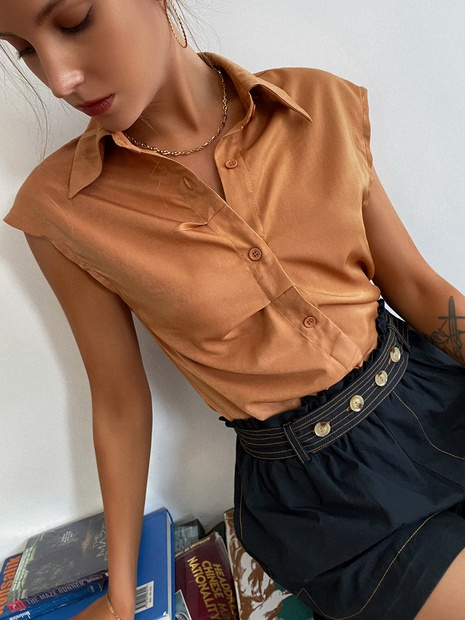 fashion solid color sleeveless lapel shirt wholesale Nihaojewelry NHDE406069's discount tags