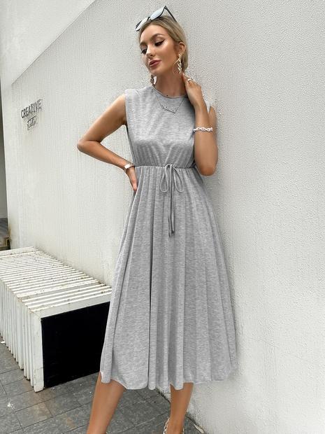 fashion sleeveless high waist lace-up dress wholesale Nihaojewelry NHDE406071's discount tags