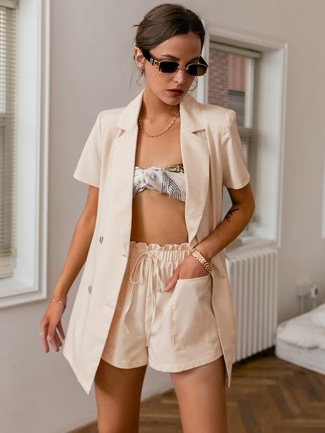 fashion light apricot short-sleeve top elastic waist short pant set wholesale nihaojewelry NHDE406072's discount tags