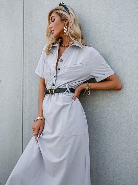 solid color lapel single breasted belt short sleeve shirt dress wholesale Nihaojewelry NHDE406073's discount tags