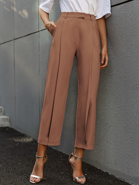 fashion solid color high waist folds pants wholesale Nihaojewelry NHDE406074's discount tags