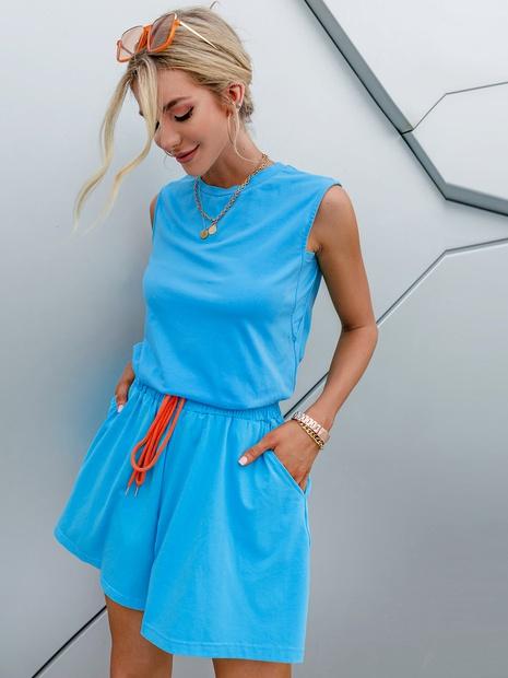 simple fashion blue set sleeveless top elastic belt short pant wholesale nihaojewelry NHDE406076's discount tags