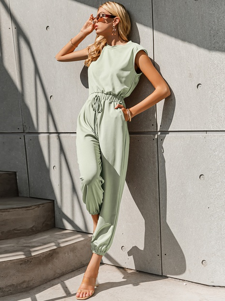 fashion simple green top pants jumpsuit sleeveless wholesale nihaojewelry NHDE406078's discount tags