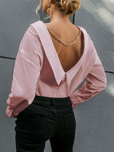 fashion solid color v-back metal chain blouse wholesale nihaojewelry NHDE406079's discount tags