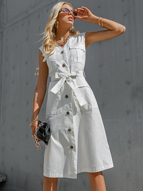 fashion solid color white sleeveless belt slim dress wholesale nihaojewelry NHDE406081's discount tags