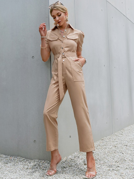 simple solid color circle belt slim jumpsuits wholesale nihaojewelry NHDE406082's discount tags