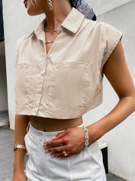 fashion simple apricot short-sleeved top wholesale nihaojewelry NHDE406083's discount tags
