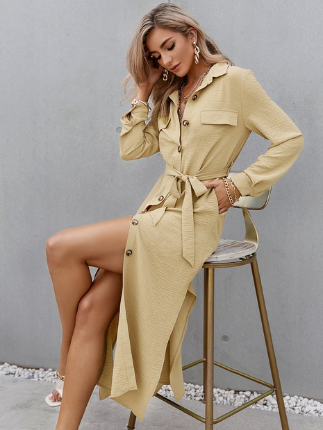 fashion solid color single-breasted long-sleeve belt yellow slim dress wholesale nihaojewelry NHDE406084's discount tags