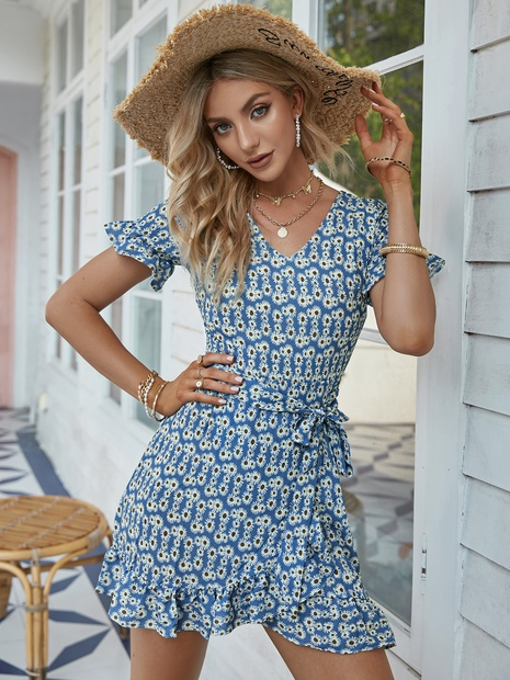 fashion floral printing short sleeve lace-up dress wholesale Nihaojewelry NHDE406095's discount tags