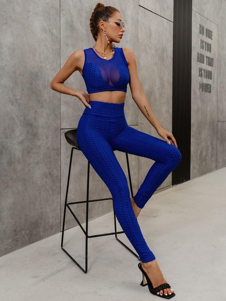 fashion simple blue sleeveless tops pants slim set wholesale nihaojewelry NHDE406099's discount tags