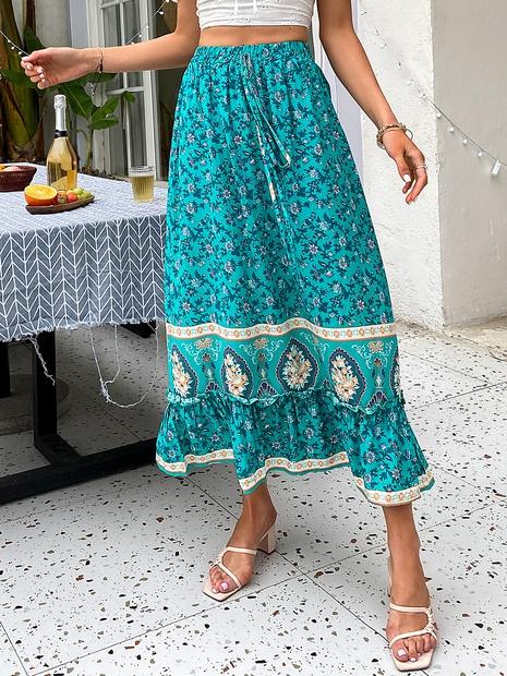 bohemia fashion flower printing elastic waist folds long dress wholesale nihaojewelry NHDE406106's discount tags