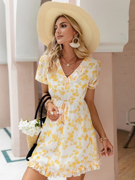 v-neck printing short sleeve dress wholesale Nihaojewelry NHDE406112's discount tags