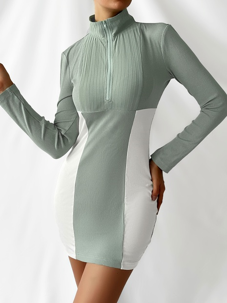simple green white contrast color long-sleeve hip package short skirt wholesale nihaojewelry NHDE406113's discount tags