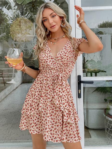 Sexy Blumenkleid mit V-Ausschnitt Großhandel Damenbekleidung NHDE406127's discount tags