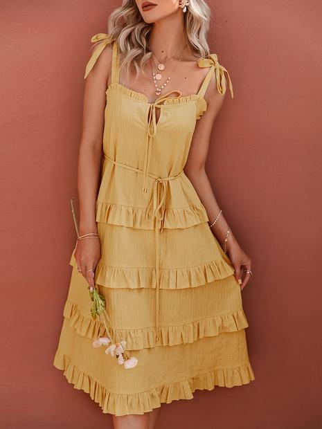 Damen gelbe Hosenträgerkleid Großhandel Cupcake Kleid NHDE406130's discount tags