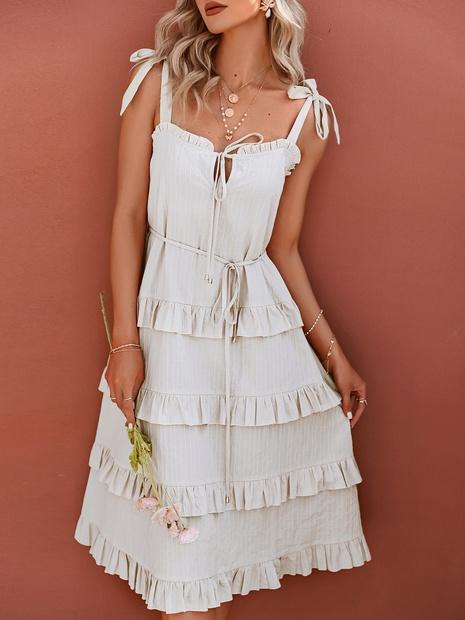 einfache einfarbige Spitze mehrschichtiges Rüschen-Sling-Kleid Großhandel Nihaojewelry NHDE406134's discount tags