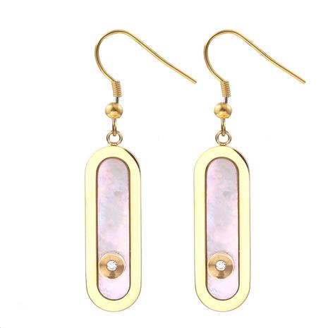Großhandel Schmuck lange weiße Perle Anhänger Edelstahl Ohrringe nihaojewelry NHRV406185's discount tags