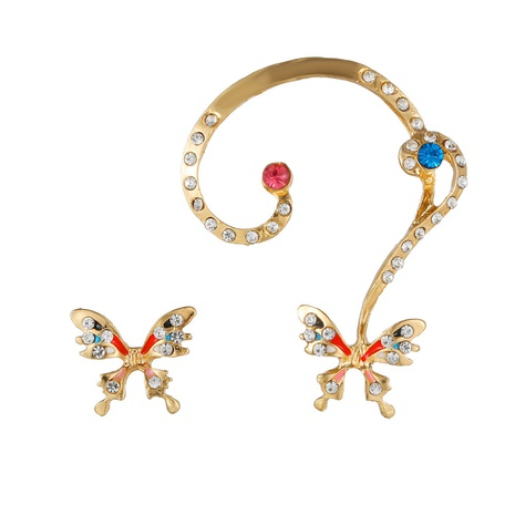 Großhandel schmuck farbe diamant schmetterling asymmetrische ohrringe nihaojewelry NHZU406243's discount tags